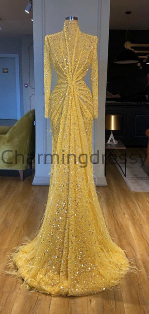 Yellow Sequin Sparkly Logn Sleeves High Neck Formal Prom Dresses PD2255