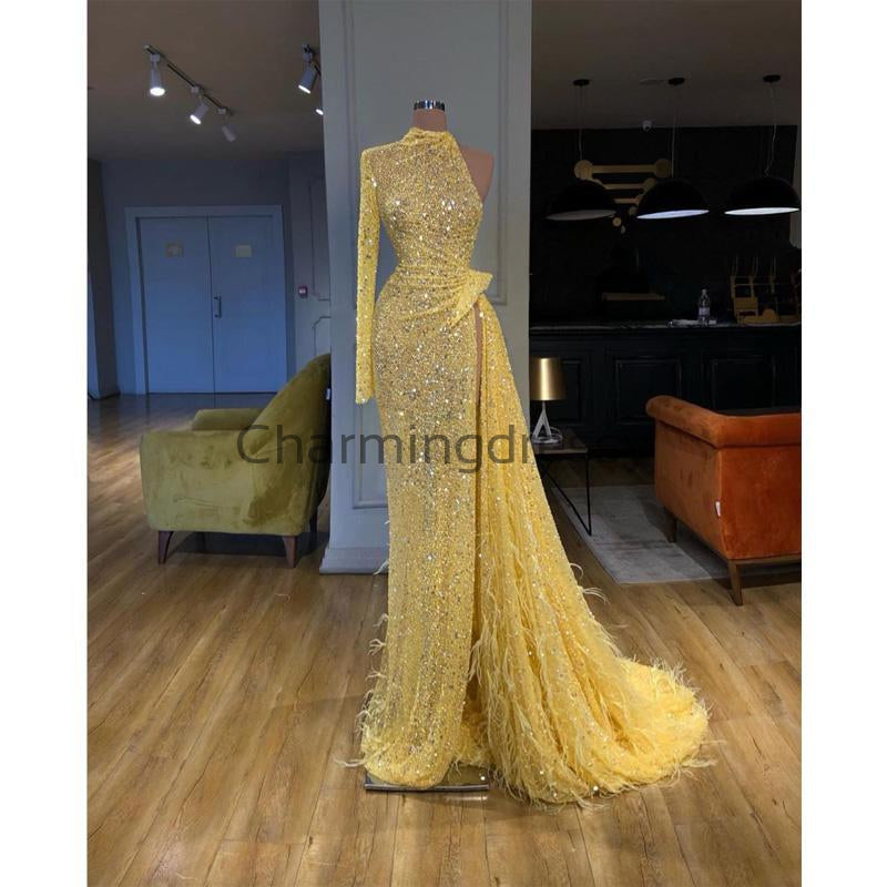 Yellow Sequin Sparkly One Shoulder Elegant Prom Dresses PD2256