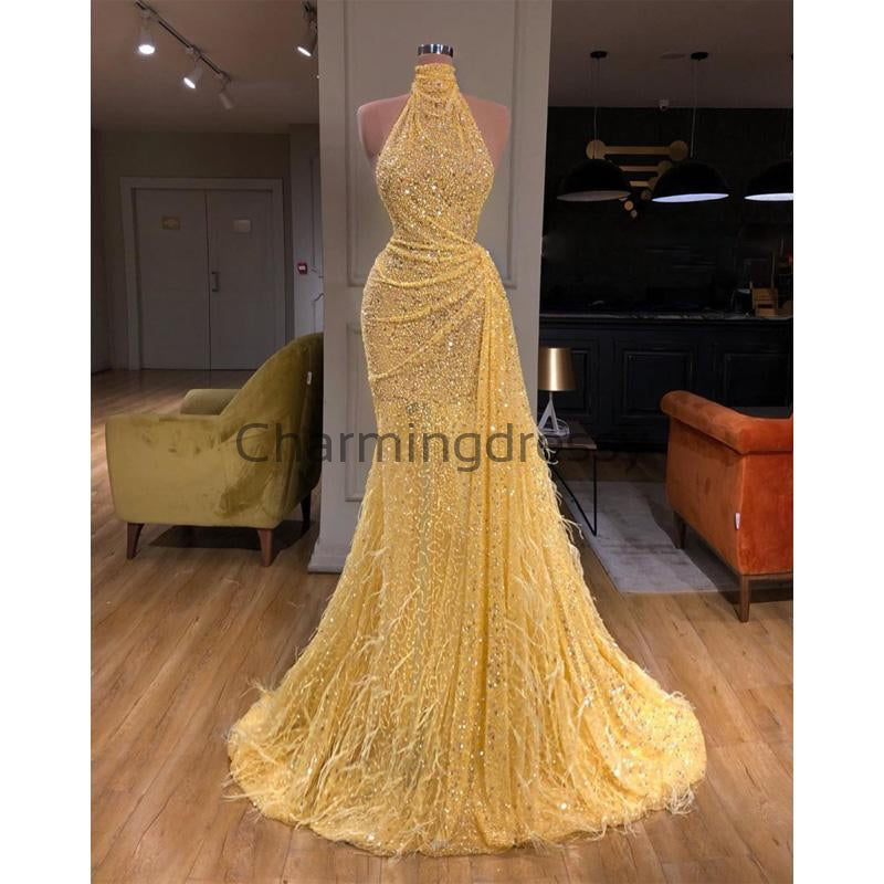 Yellow Sequin Sparkly Unique High Neckl Elegant Prom Dresses PD2258