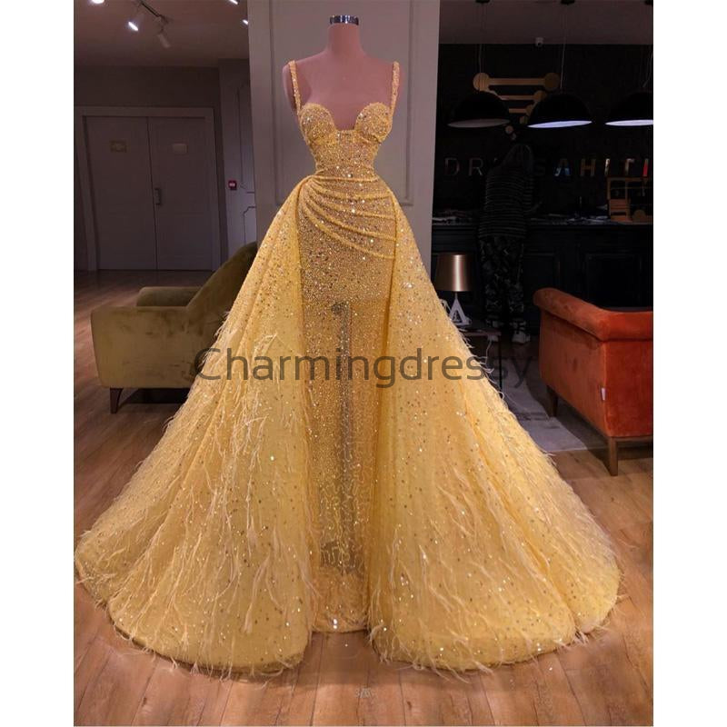Yellow Sequin Sparkly Unique Modest Elegant Prom Dresses PD2259