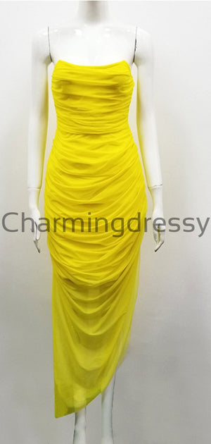 Yellow Unique Mermaid Real Made Modest Prom Dresses PD2260