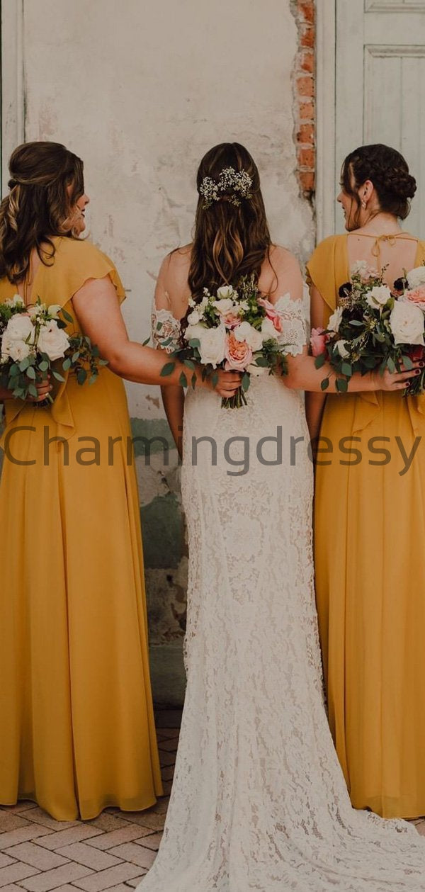 Yellow Cap Sleeves V-Neck Simple Unique Popular Bridesmaid Dresses WG677