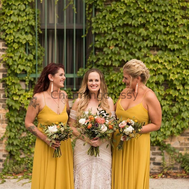 Yellow Spaghetti Straps Simple A-line  Bridesmaid Dresses WG678