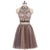 Beading Charming High Neck Open Back Two Pieces Pretty Popular Homecoming Dresses For Teen , BD0205
