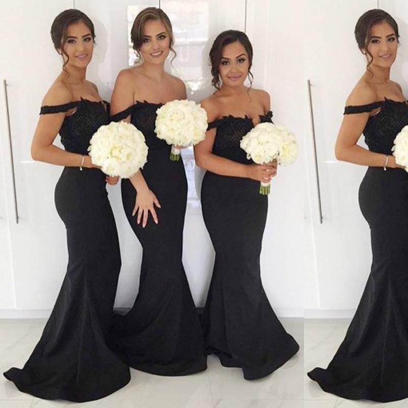 Sexy Off Shoulder Black Mermaid Long Bridesmaid Dresses Online, WG304