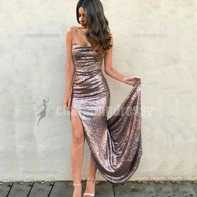 Sequin Sexy Mermaid Side Slit Sparkly Fshion Prom Dresses, Evening Dress, Party Prom Dress, PD0427