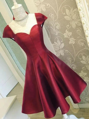 Sexy Backless Cap Sleeves Short Red Homecoming Dresses Online, CM539