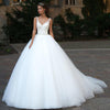 Popular Long A-line Sleeveless White Tulle Lace Cheap Wedding Dresses, WD0203