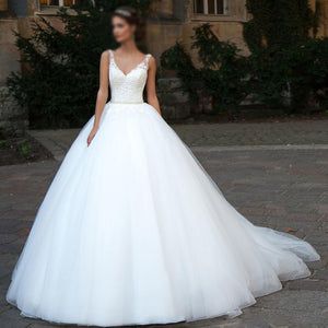 2019 Popular Long A-line Sleeveless White Tulle Lace Cheap Wedding Dresses, WD0203