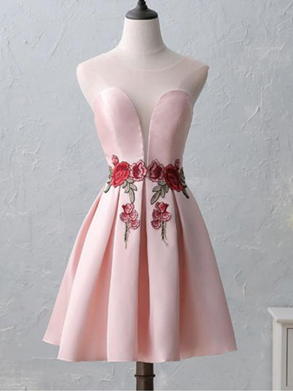 Cute Illusion Scoop Pink Cheap Short Homecoming Dresses Online, CM536