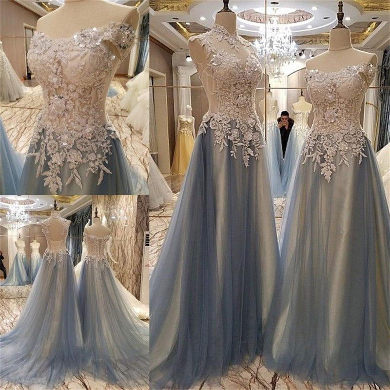 New Arrival Lace Appliques Beading Gorgeous Tulle Off Shoulder Elegant Prom Dress, PD0260