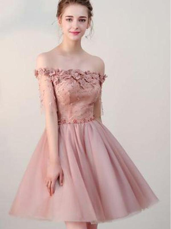 Dusty Pink Off Shoulder Short Sleeves Cheap Homecoming Dresses 2018, CM546