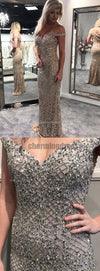 Off Shoulder Beads Mermaid Elegant Custom Charming Beautiful Prom Dresses, Evening Dress, Fashion gown, PD0482