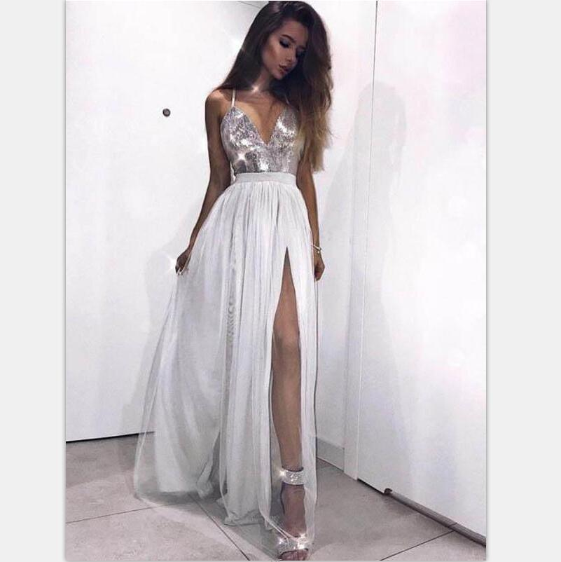 Grey Sequin Tulle Halter Side Slit Cheap Modest Long Evening Prom Dresses, PD0937