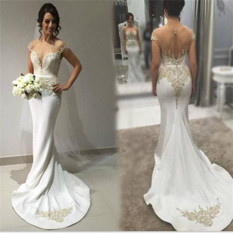 Sexy Mermaid Sweetheart See-through Back Simple Formal Chapel Train  Wedding Dresses, PD0277