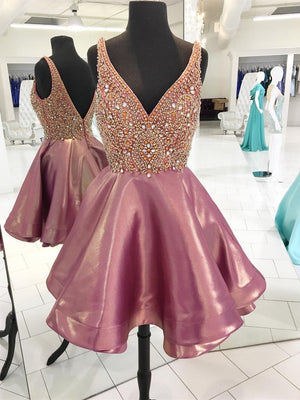 Backless V Neck Heavily Beaded Dusty Pink Homecoming Dresses, CM449