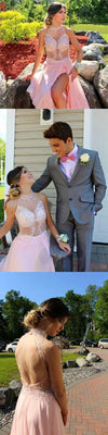 Pink See-through High Neck Side Slit Backless Sparkly Party Prom Dress, Evening Dress, PD0289