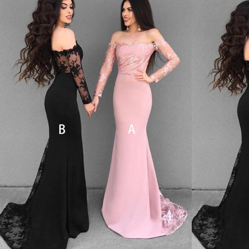 Long Sleeves Lace Mermaid Long Bridesmaid Dresses Online, WG307