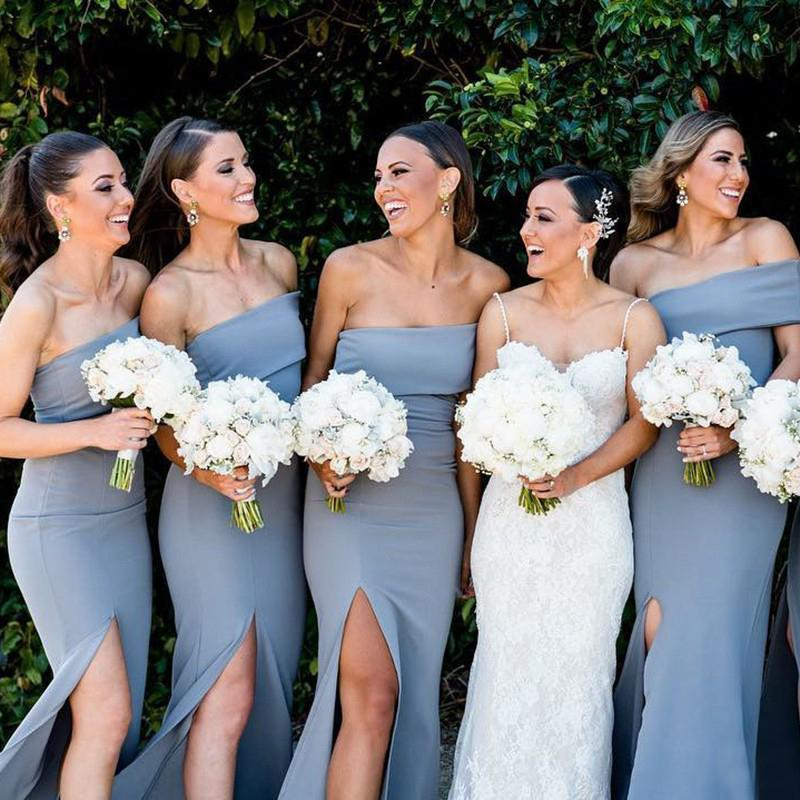 Unique Side Slit Mermaid Long Bridesmaid Dresses Online, WG308