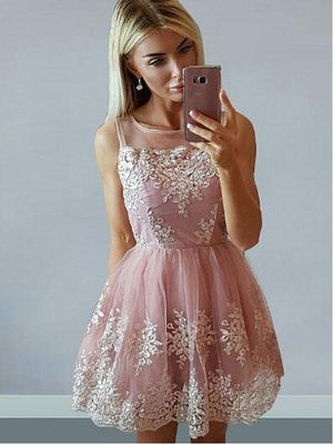 Cheap Cute Pink Scoop Straps Lace Homecoming Dresses 2018, CM473