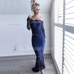 Long Sleeves Lace Sexy Elegant Mermaid High-Low Sexy Prom Dresses, Evening dresses, PD0437