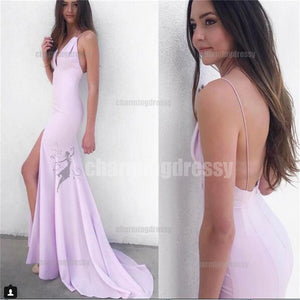 Elegant Sexy Mermaid Pink Spaghetti Straps V Neck Prom Dresses, Party Prom dress, Evening Dress, PD0432