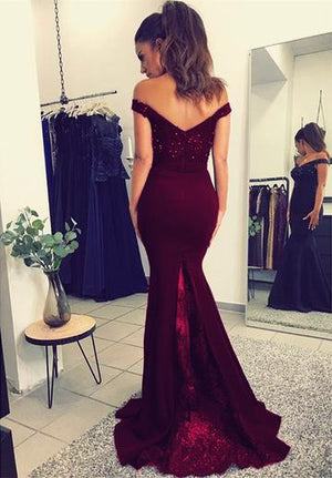 Off Shoulder Burgundy Mermaid Sexy Popular Long Fashion Prom Dresses, Evening dresses for 2018 prom, PD0456