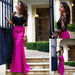 Black Top Lace Rose Red Half Sleeves Open Back Simple New Design  Prom Dress  , PD0271