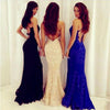Long Lace  Blue Straps  Custom Sexy Mermaid Party Formal Backless Prom Dress,PD0042