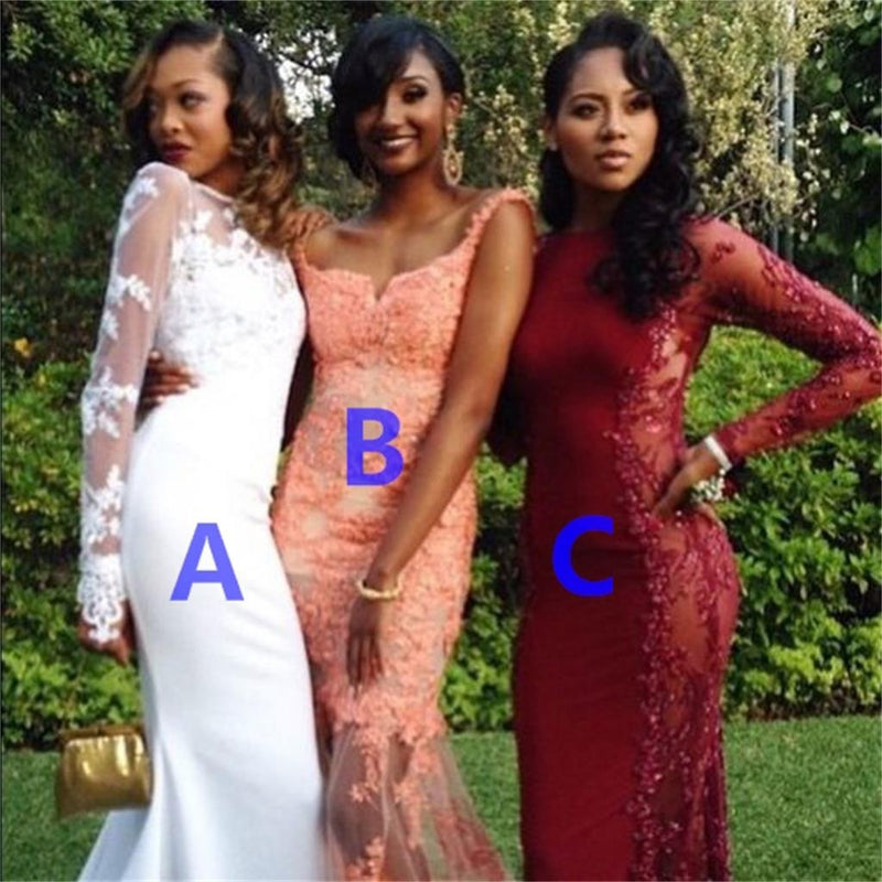 Long Sleeves Different Style and Color Sexy Mermaid Prom Dresses Bridesmaid Dress ,PD210