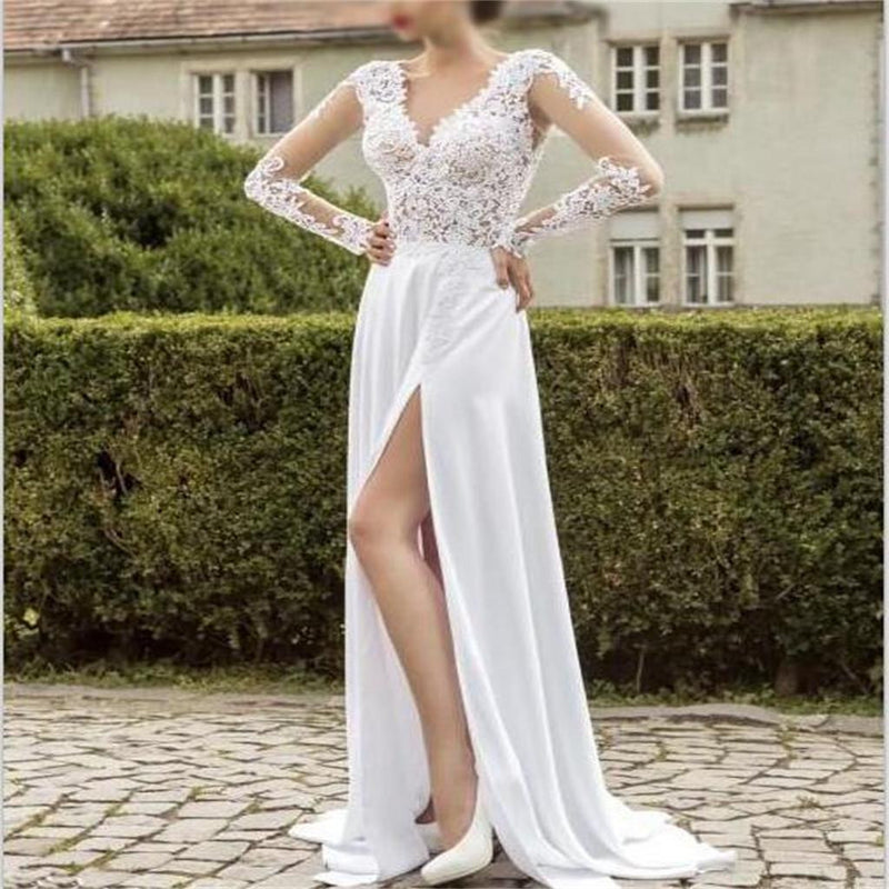 Long sleeve wedding gown ,white chiffon lace slit cheap custom  prom dress, PD0212