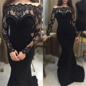 Long Black Mermaid Sexy Lace Top Party Long Sleeves Prom Dress , Cheap  Evening Dress ,PD0265