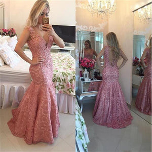 Long Mermaid Sexy Lace V-Neck Formal Evening Prom Gown , Fashion Pretty Prom Dress , PD0270