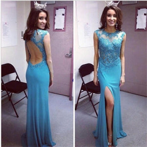 Long Mermaid Blue Open Back Top See-through Sexy Popular Cheap Prom Dress  ,PD0235