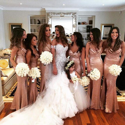 long mermaid side slit spaghetti straps sequin sparkly custom bridesmaid dresses , PD0216