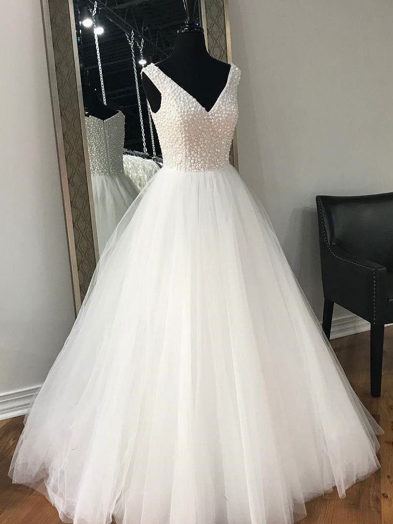 V Neck White Rhinestone Cheap A-line Custom Wedding Dresses Online, WD348