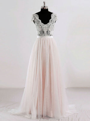 Cap Sleeves V Neck See Through A-line Cheap Wedding Dresses Online, WD342