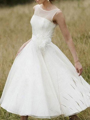 Simple Illusion Neck Cheap Short Wedding Dresses Online, WD365