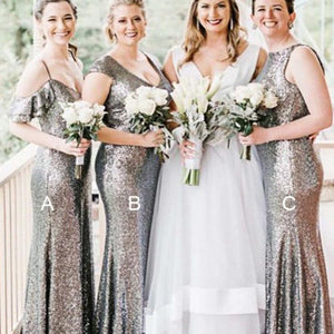 Mismatched Silver Sequin Mermaid Long Bridesmaid Dresses Online, WG306