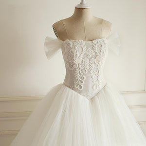 Off Shoulder Beaded A-line Lace Long Custom Cheap Wedding Dresses, WD304