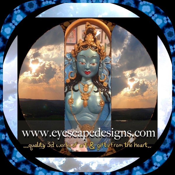 blue goddess art statue wall hanging