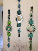 blue green feng shui wall art~ cluster of dharma dangelies w/ round mirrors