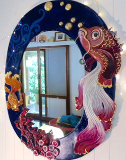 a little bit fishy~ large oval 3d fishes mirror
