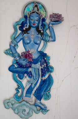 Blue and Silver Offering Goddess of Flowers Sculpted Colourful Wall art Wall