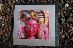 goddess greeting card ~ large silver ~ pink buddhist art print