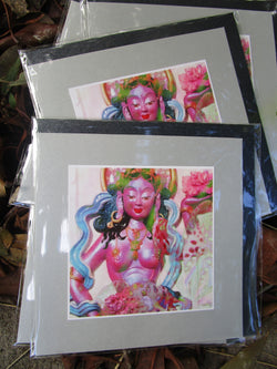 goddess greeting card ~ Buddhist art print ~ pink leopard flower