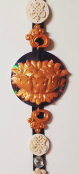 feng shui sculpted wall art w/ gold lotus and white auspicious knots