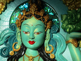 Tibetan Offering Goddess (green) 3d wall decor - sculpted wall art