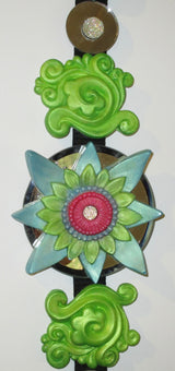 feng shui green  3d wall art green lotus hanging