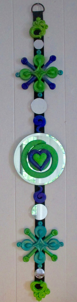 green & purple sculptural wall hanging art swirly heart on round mirror feng shui dangle